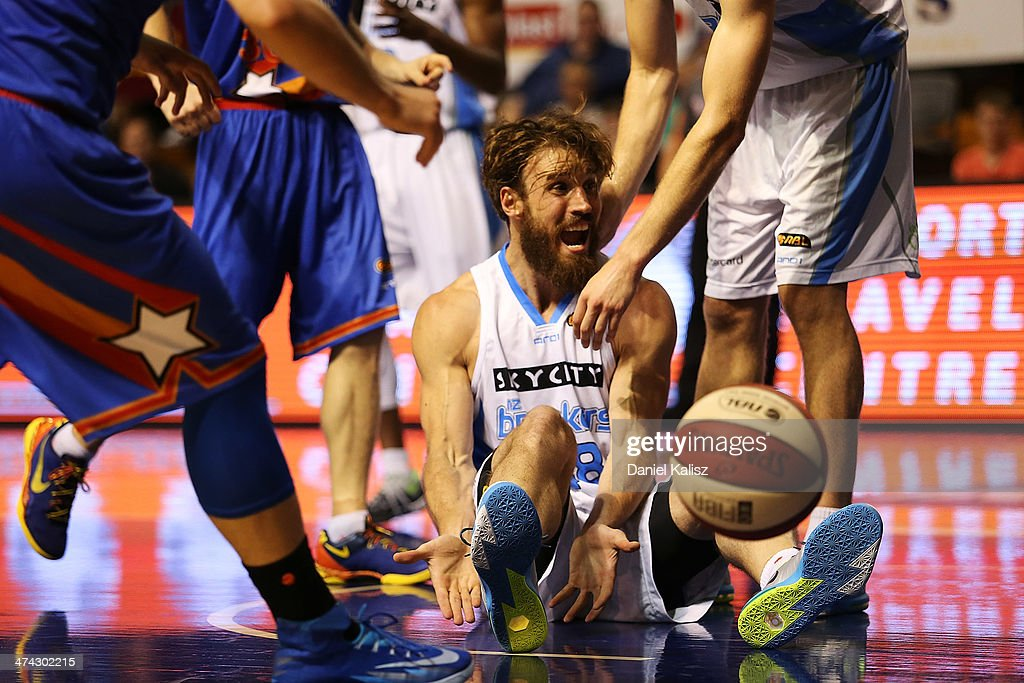 Casey Frank of the Breakers reacts after an umpires decision during the round 19 NBL match between the Adelaide 36ers and the New Zealand Breakers at Adelaide Arena in February 23, 2014 in Adelaide, Australia.