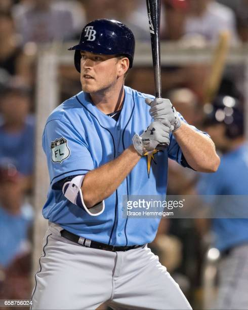 Casey Gillaspie of the Tampa Bay Rays bats against the Minnesota Twins on February 24 2017 at the CenturyLink Sports Complex in Fort Myers Florida