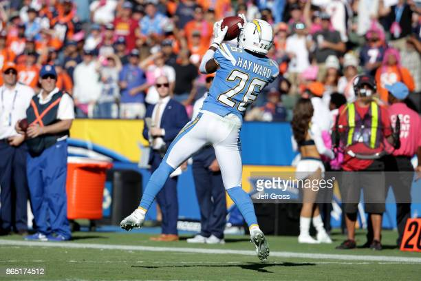 Casey Hayward of the Los Angeles Chargers intercepts the ball in the fourth quarter during the game against the Denver Broncos at the StubHub Center...