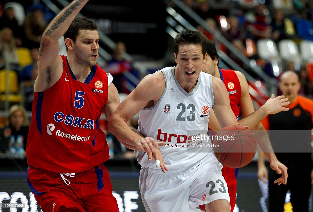 <a gi-track='captionPersonalityLinkClicked' href=/galleries/search?phrase=Casey+Jacobsen&family=editorial&specificpeople=201618 ng-click='$event.stopPropagation()'>Casey Jacobsen</a>, #23 of Brose Baskets Bamberg competes with Vladimir Micov, #5 of CSKA Moscow in action during the 2012-2013 Turkish Airlines Euroleague Top 16 Date 3 between CSKA Moscow v Brose Baskets Bamberg at Megasport Sports Palace on January 10, 2013 in Moscow, Russia.