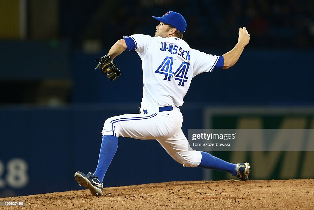 Casey Janssen #44 of the Toronto Blue Jays delivers a pitch during MLB game action against the Chicago White Sox on April 18, 2013 at Rogers Centre in Toronto, Ontario, Canada.