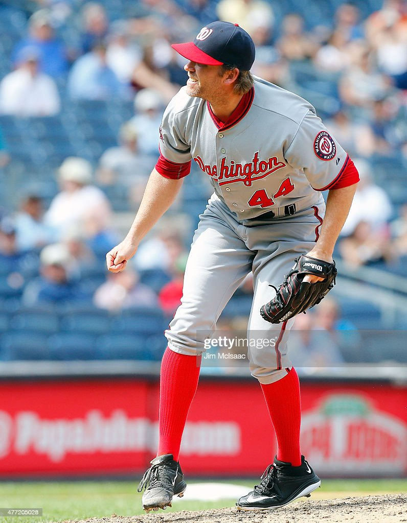 <a gi-track='captionPersonalityLinkClicked' href=/galleries/search?phrase=Casey+Janssen&family=editorial&specificpeople=598479 ng-click='$event.stopPropagation()'>Casey Janssen</a> #44 of the Washington Nationals in action against the New York Yankees at Yankee Stadium on June 10, 2015 in the Bronx borough of New York City. The Nationals defeated the Yankees 5-4 in 11 innings.