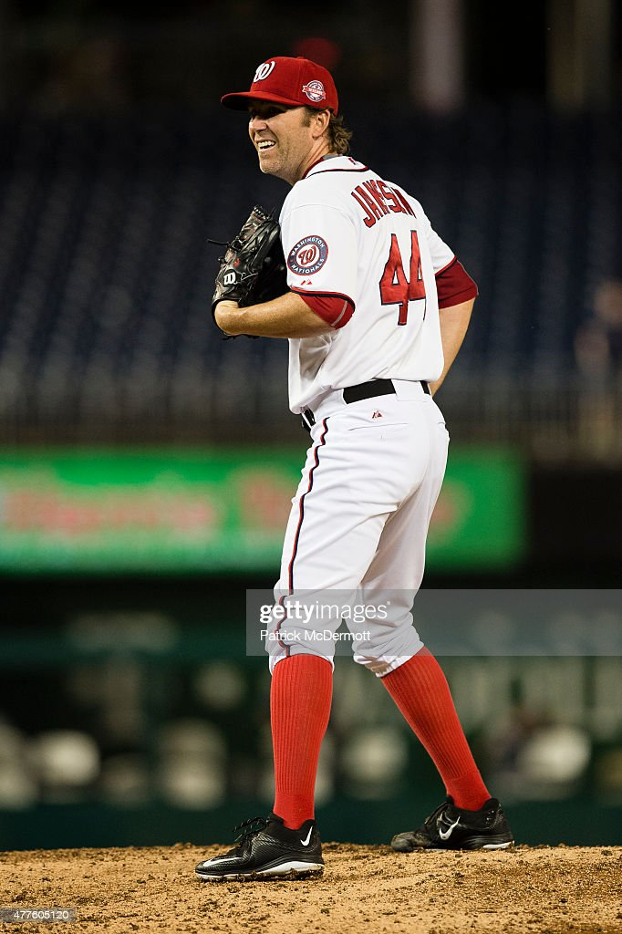 <a gi-track='captionPersonalityLinkClicked' href=/galleries/search?phrase=Casey+Janssen&family=editorial&specificpeople=598479 ng-click='$event.stopPropagation()'>Casey Janssen</a> #44 of the Washington Nationals prepares to throw a pitch to a Tampa Bay Rays batter in the ninth inning of a baseball game at Nationals Park on June 17, 2015 in Washington, DC.