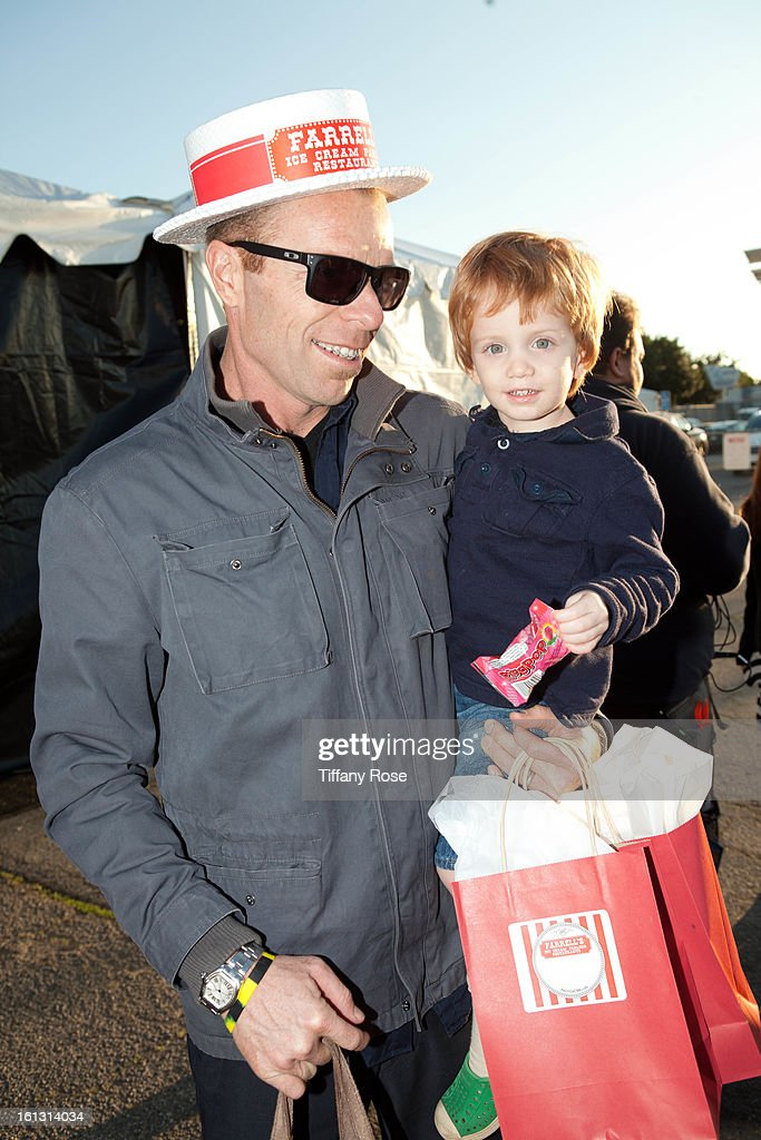 Casey Jennings and son attend the GBK & Cartoon Network's Official Backstage Thank You Lounge at Barker Hangar on February 9, 2013 in Santa Monica, California.