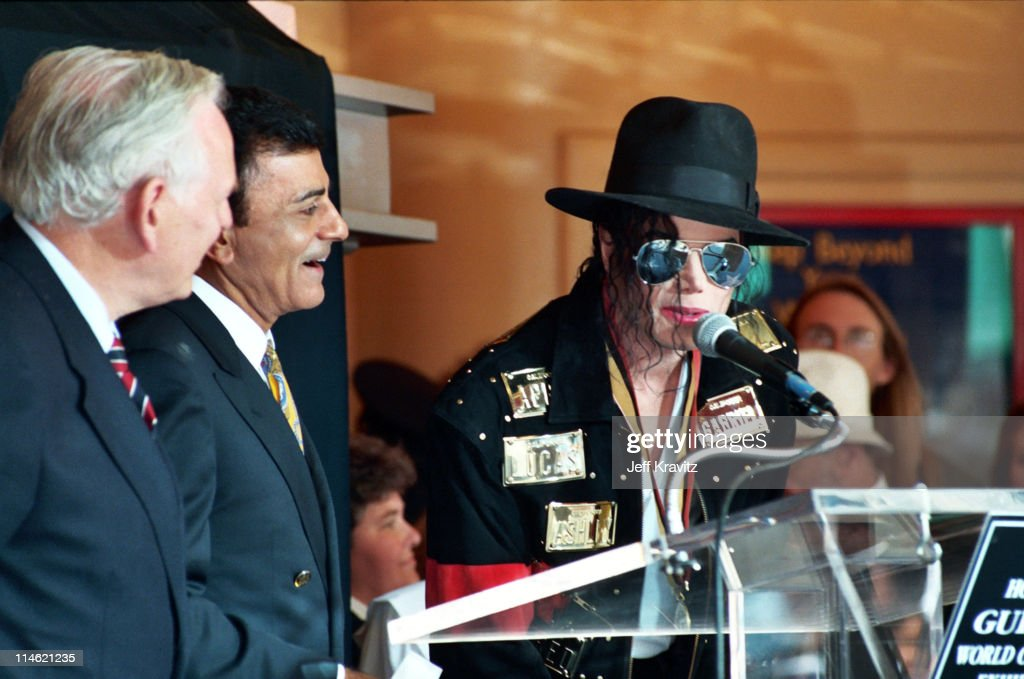 Casey Kasem and Michael Jackson during Michael Jackson is Honored With Hollywood Walk of Fame in Hollywood, CA, United States.