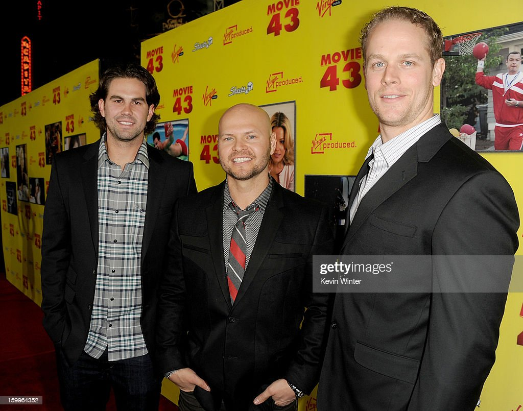 Casey Kelly, baseball pitcher for the San Diego Padres; Cody Ross, baseball player for the Arizona Diamondbacks; and Justin Morneau, baseball player for the Minnesota Twins attend the premiere of Relativity Media's 'Movie 43' at TCL Chinese Theatre on January 23, 2013 in Hollywood, California.
