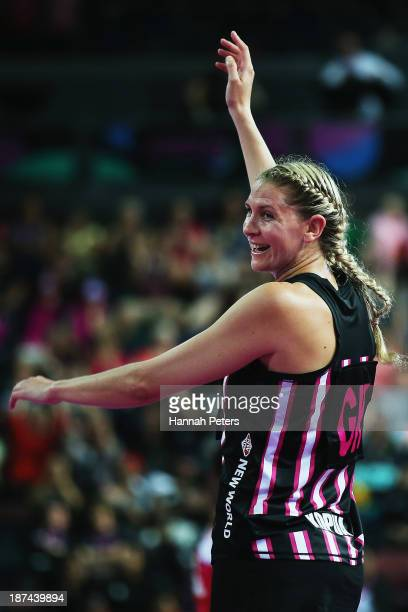 Casey Kopua of New Zealand celebrates after winning the match between New Zealand and England on day two of the Fast5 Netball World Series at Vector...