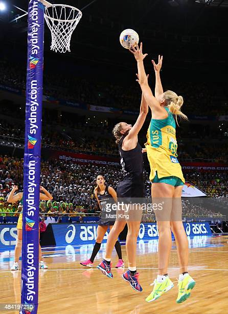 Casey Kopua of New Zealand competes with Caitlin Bassett of the Diamonds during the 2015 Netball World Cup Gold Medal match between Australia and New...