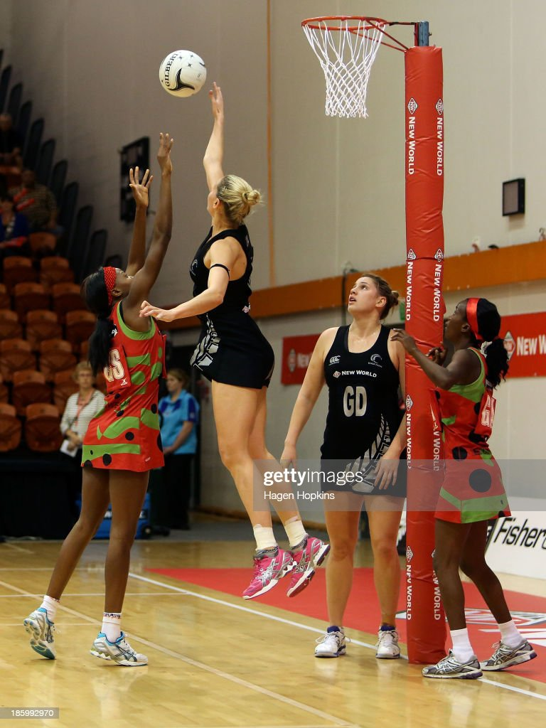 Casey Kopua of New Zealand defends against Mwai Kumwenda of Malawi during the International Test Match between the New Zealand Silver Ferns and the Malawai Queens at Pettigrew Green Arena on October 27, 2013 in Napier, New Zealand.