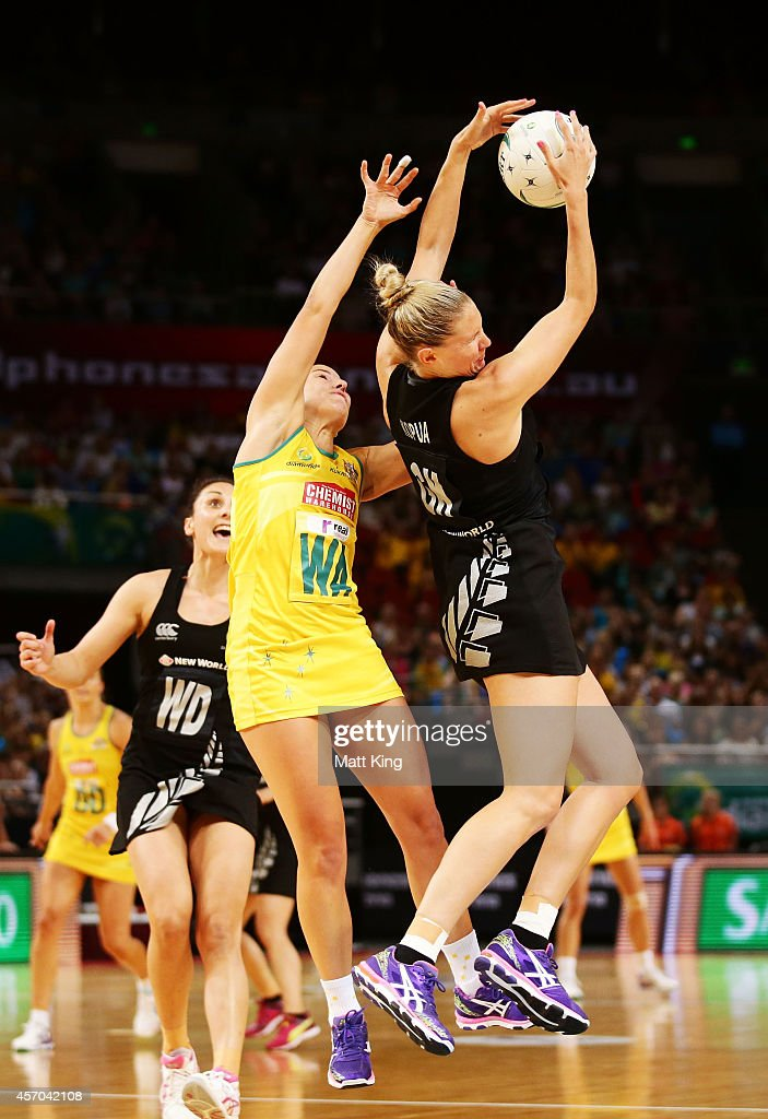 Casey Kopua of the Ferns is challenged by Madi Robinson of the Diamonds during the International Netball Test match between the New Zealand Silver...