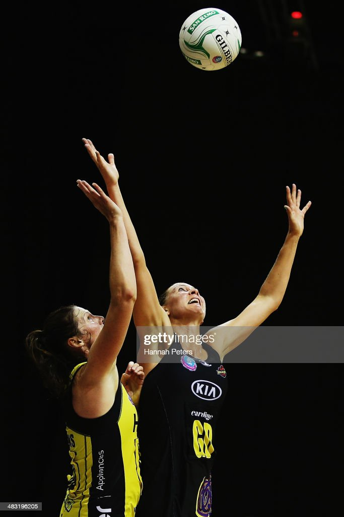 Casey Kopua of the Magic defends against Donna Wilkens of the Pulse during the ANZ Championship match between the Magic and the Pulse on April 7, 2014 in Auckland, New Zealand.