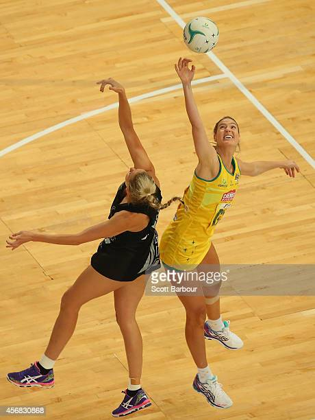 Casey Kopua of the Silver Ferns and Caitlin Bassett of the Diamonds compete for the ball during the International Test match between the New Zealand...