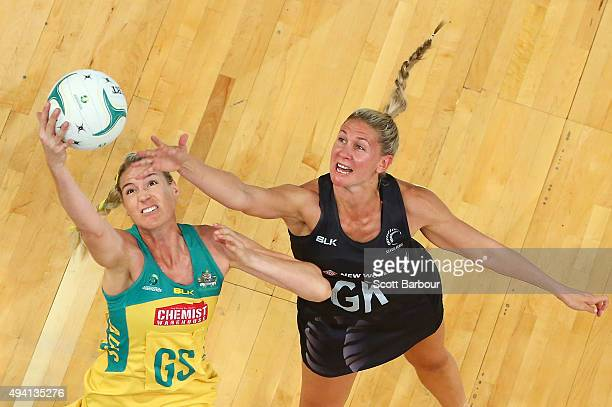 Casey Kopua of the Silver Ferns and Caitlin Bassett of the Diamonds compete for the ball during the International Test match between the Australia...
