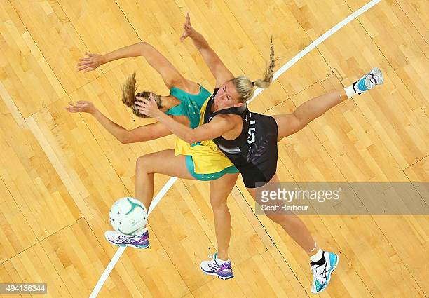 Casey Kopua of the Silver Ferns and Erin Bell of the Diamonds compete for the ball during the International Test match between the Australia Diamonds...