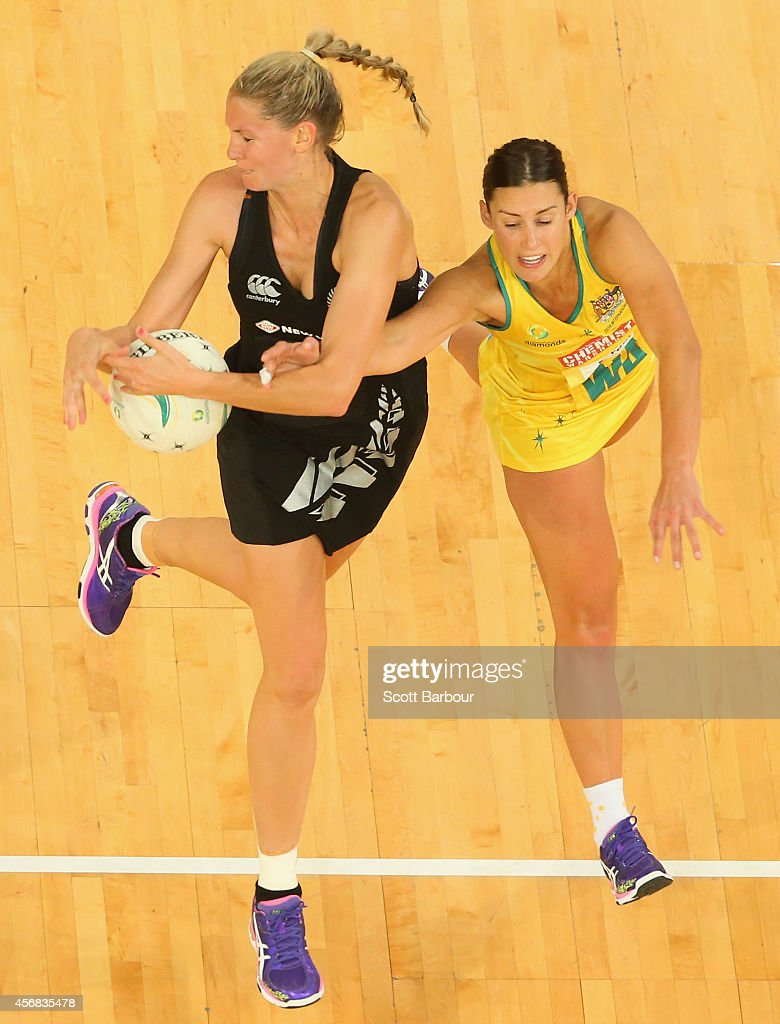 Casey Kopua of the Silver Ferns and Madison Robinson of the Diamonds compete for the ball during the International Test match between the New Zealand...