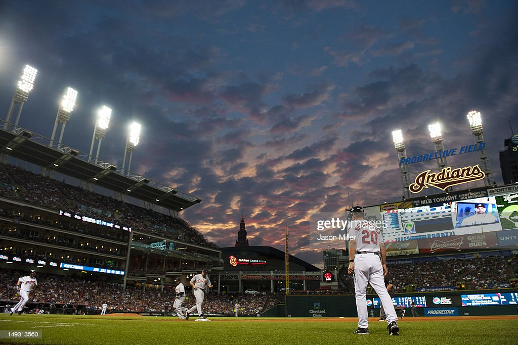 <a gi-track='captionPersonalityLinkClicked' href=/galleries/search?phrase=Casey+Kotchman&family=editorial&specificpeople=240573 ng-click='$event.stopPropagation()'>Casey Kotchman</a> #35 of the Cleveland Indians is out at first during the fifth inning against the Detroit Tigers as the sun sets over Progressive Field on July 26, 2012 in Cleveland, Ohio.