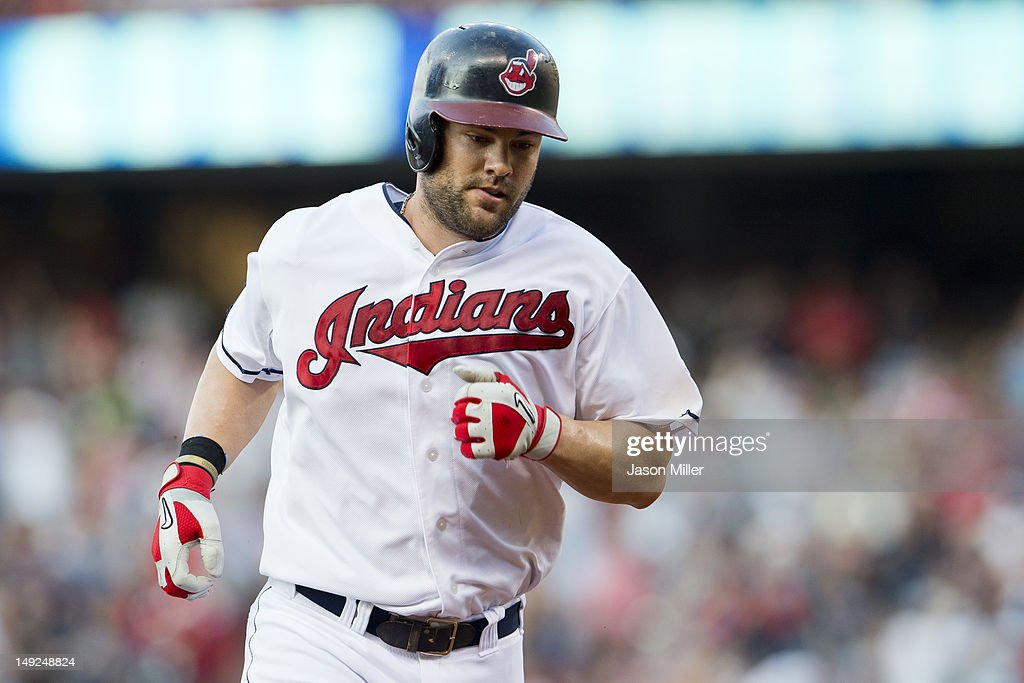 <a gi-track='captionPersonalityLinkClicked' href=/galleries/search?phrase=Casey+Kotchman&family=editorial&specificpeople=240573 ng-click='$event.stopPropagation()'>Casey Kotchman</a> #35 of the Cleveland Indians rounds third after hitting a two-run home run during the third inning against the Detroit Tigers at Progressive Field on July 25, 2012 in Cleveland, Ohio.