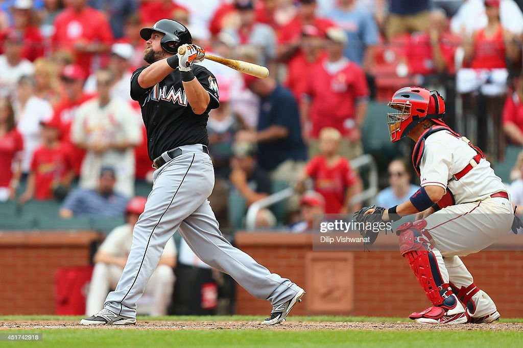 <a gi-track='captionPersonalityLinkClicked' href=/galleries/search?phrase=Casey+McGehee&family=editorial&specificpeople=796577 ng-click='$event.stopPropagation()'>Casey McGehee</a> #9 of the Miami Marlins hits a game-tying RBI single in the ninth inning against the St. Louis Cardinals at Busch Stadium on July 5, 2014 in St. Louis, Missouri. The Marlins beat the Cardinal 6-5.