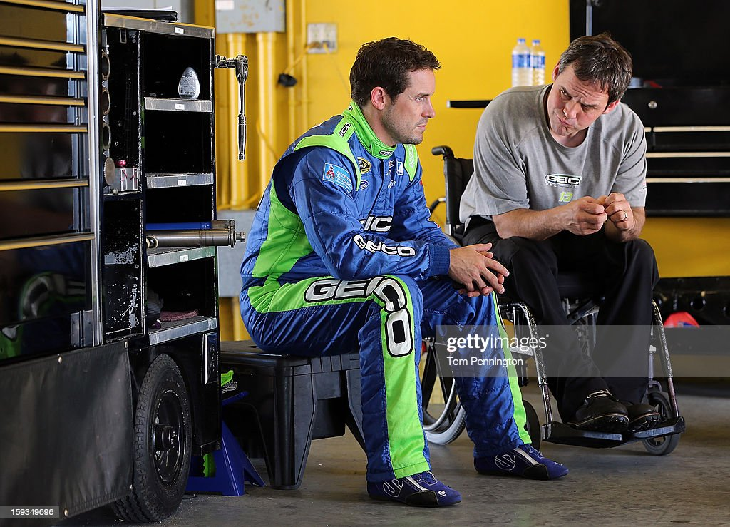 <a gi-track='captionPersonalityLinkClicked' href=/galleries/search?phrase=Casey+Mears&family=editorial&specificpeople=176485 ng-click='$event.stopPropagation()'>Casey Mears</a> (L), driver of the #13 Ford, talks with crew chief Robert Barker during the NASCAR Sprint Cup Preseason Thunder testing at Daytona International Speedway on January 12, 2013 in Daytona Beach, Florida.
