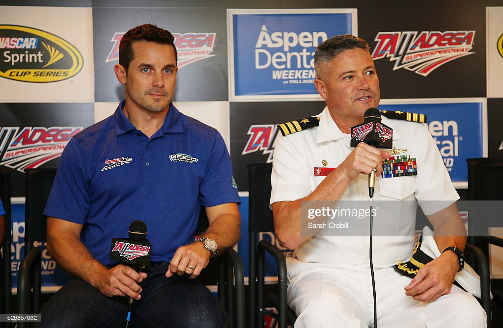 Casey Mears, driver of the #13 GEICO Chevrolet, attends a press conference with USS Montgomery Commanding Officer Daniel Straub prior to the NASCAR Sprint Cup Series GEICO 500 at Talladega Superspeedway on May 1, 2016 in Talladega, Alabama.