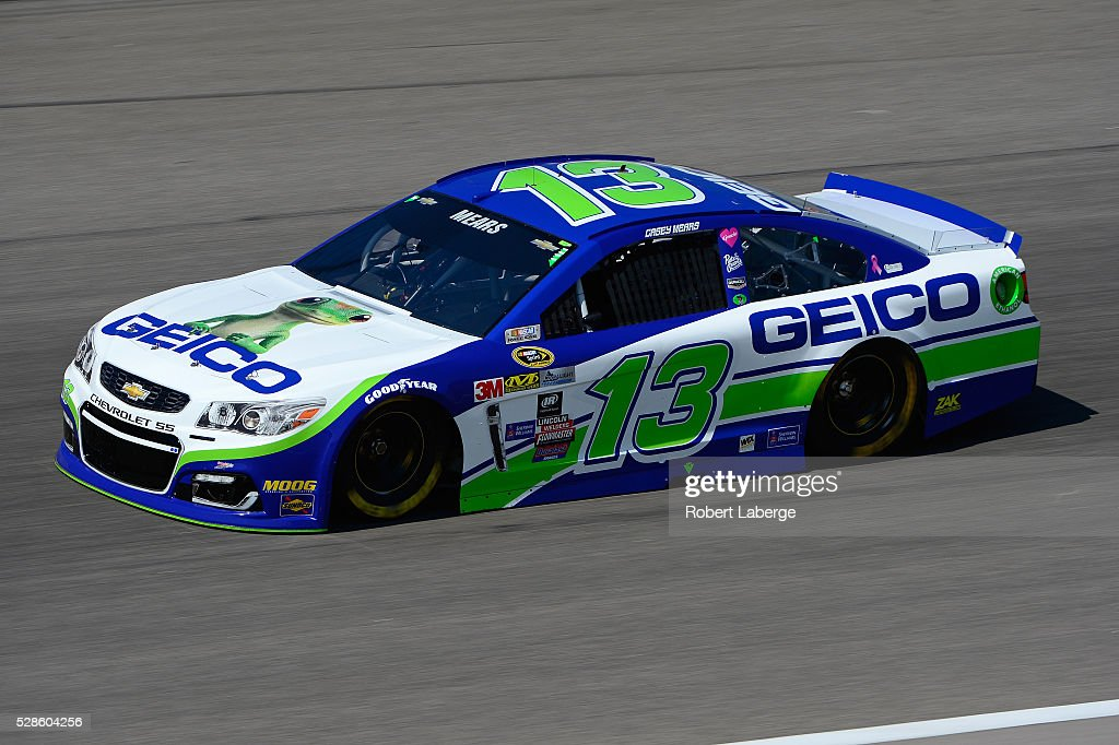 Casey Mears, driver of the #13 GEICO Chevrolet, drives during practice for the NASCAR Sprint Cup Series Go Bowling 400 at Kansas Speedway on May 6, 2016 in Kansas City, Kansas.