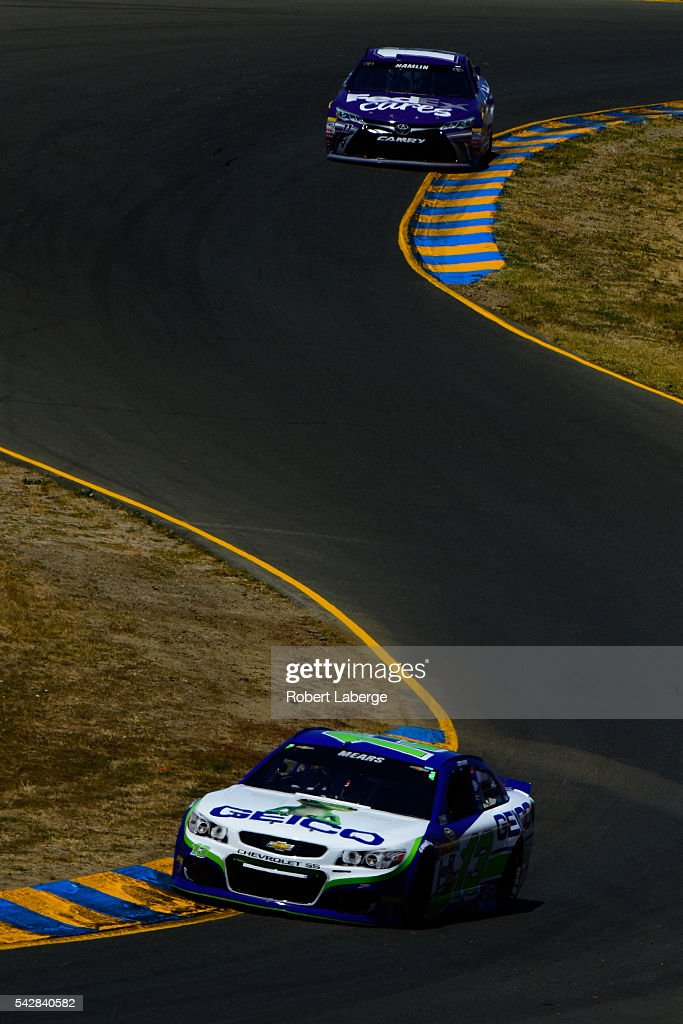 <a gi-track='captionPersonalityLinkClicked' href=/galleries/search?phrase=Casey+Mears&family=editorial&specificpeople=176485 ng-click='$event.stopPropagation()'>Casey Mears</a>, driver of the #13 GEICO Chevrolet, drives during practice for the NASCAR Sprint Cup Series Toyota/Save Mart 350 at Sonoma Raceway on June 24, 2016 in Sonoma, California.