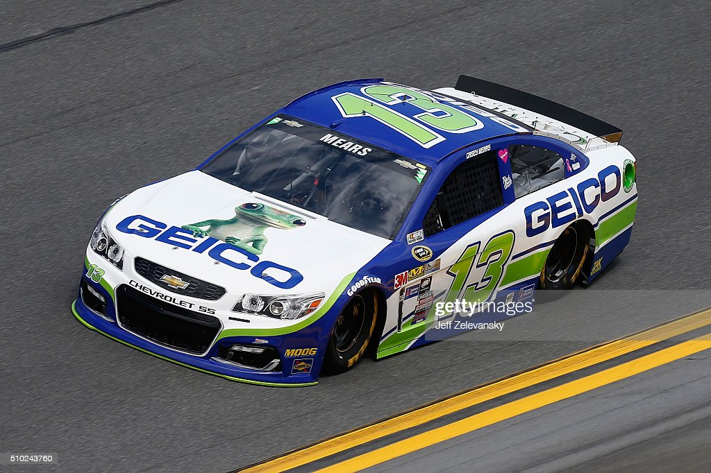 <a gi-track='captionPersonalityLinkClicked' href=/galleries/search?phrase=Casey+Mears&family=editorial&specificpeople=176485 ng-click='$event.stopPropagation()'>Casey Mears</a>, driver of the #13 GEICO Chevrolet, drives during qualifying for the NASCAR Sprint Cup Series Daytona 500 at Daytona International Speedway on February 14, 2016 in Daytona Beach, Florida.