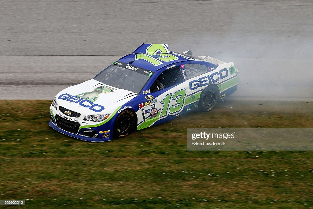 <a gi-track='captionPersonalityLinkClicked' href=/galleries/search?phrase=Casey+Mears&family=editorial&specificpeople=176485 ng-click='$event.stopPropagation()'>Casey Mears</a>, driver of the #13 GEICO Chevrolet, has an on track incident during the NASCAR Sprint Cup Series GEICO 500 at Talladega Superspeedway on May 1, 2016 in Talladega, Alabama.