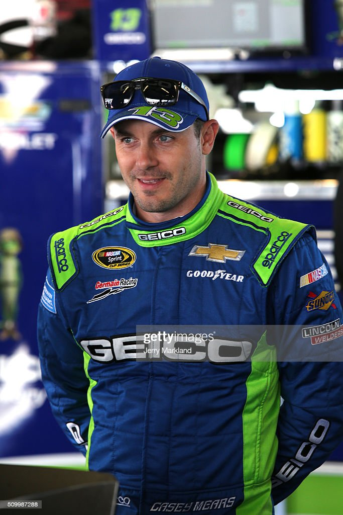 <a gi-track='captionPersonalityLinkClicked' href=/galleries/search?phrase=Casey+Mears&family=editorial&specificpeople=176485 ng-click='$event.stopPropagation()'>Casey Mears</a>, driver of the #13 GEICO Chevrolet, looks on in the garage area during practice for the NASCAR Sprint Cup Series Daytona 500 at Daytona International Speedway on February 13, 2016 in Daytona Beach, Florida.