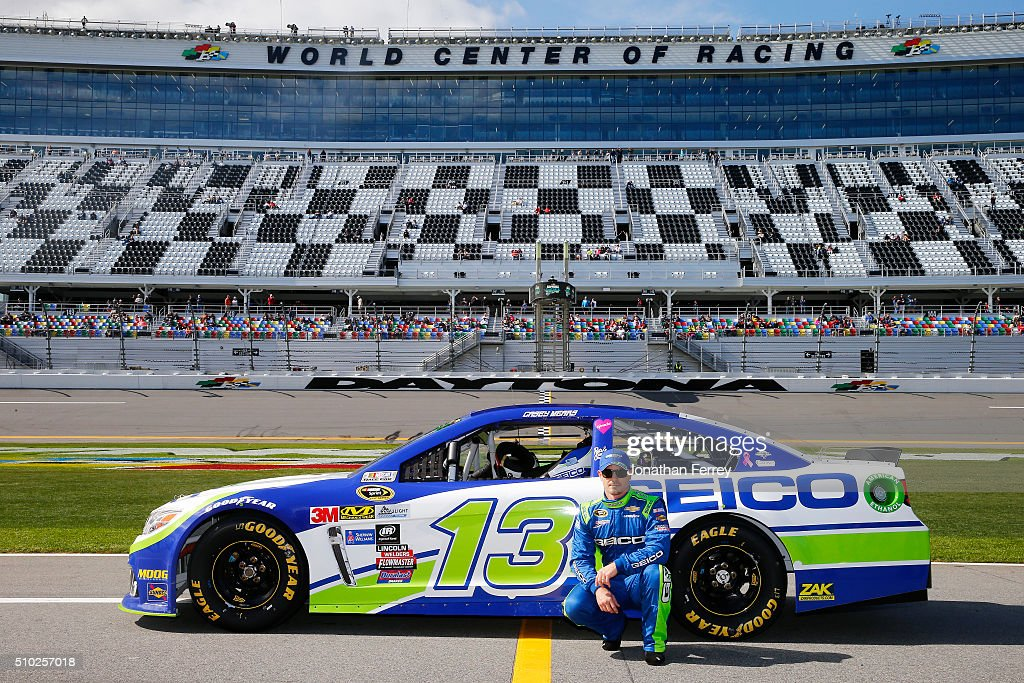 <a gi-track='captionPersonalityLinkClicked' href=/galleries/search?phrase=Casey+Mears&family=editorial&specificpeople=176485 ng-click='$event.stopPropagation()'>Casey Mears</a>, driver of the #13 GEICO Chevrolet, poses with his car after qualifying for the NASCAR Sprint Cup Series Daytona 500 at Daytona International Speedway on February 14, 2016 in Daytona Beach, Florida.