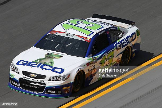 Casey Mears driver of the GEICO Chevrolet practices for the NASCAR Sprint Cup Series Coke Zero 400 at Daytona International Speedway on July 3 2015...