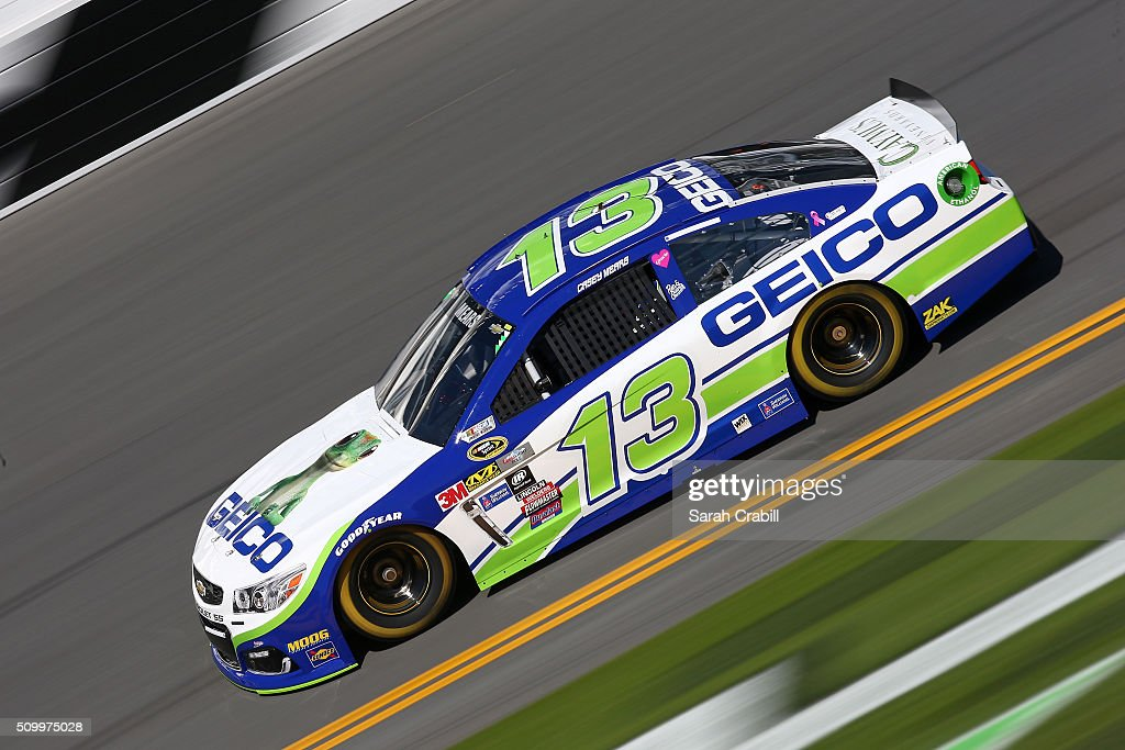 <a gi-track='captionPersonalityLinkClicked' href=/galleries/search?phrase=Casey+Mears&family=editorial&specificpeople=176485 ng-click='$event.stopPropagation()'>Casey Mears</a>, driver of the #13 GEICO Chevrolet, practices for the NASCAR Sprint Cup Series Daytona 500 at Daytona International Speedway on February 13, 2016 in Daytona Beach, Florida.