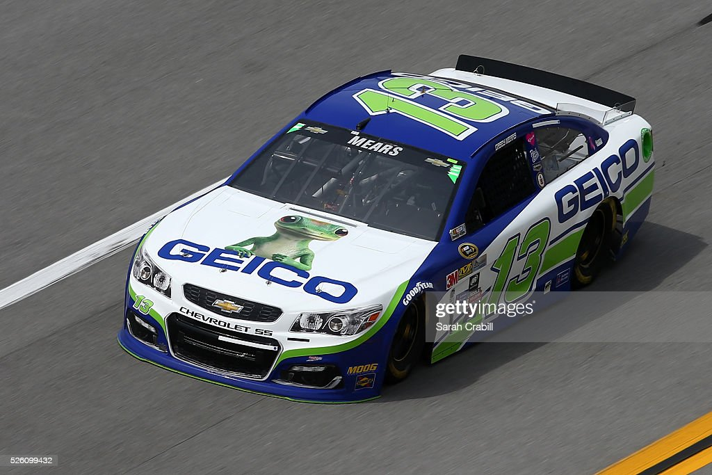 Casey Mears, driver of the #13 GEICO Chevrolet, practices for the NASCAR Sprint Cup Series GEICO 500 at Talladega Superspeedway on April 29, 2016 in Talladega, Alabama.