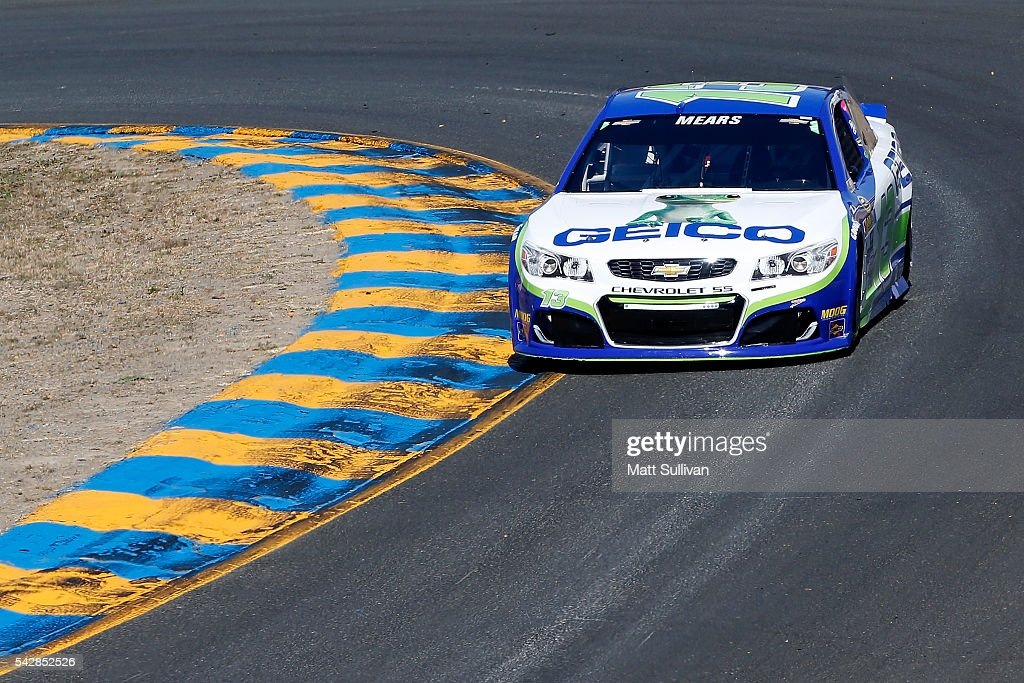 <a gi-track='captionPersonalityLinkClicked' href=/galleries/search?phrase=Casey+Mears&family=editorial&specificpeople=176485 ng-click='$event.stopPropagation()'>Casey Mears</a>, driver of the #13 GEICO Chevrolet, practices for the NASCAR Sprint Cup Series Toyota/Save Mart 350 at Sonoma Raceway on June 24, 2016 in Sonoma, California.