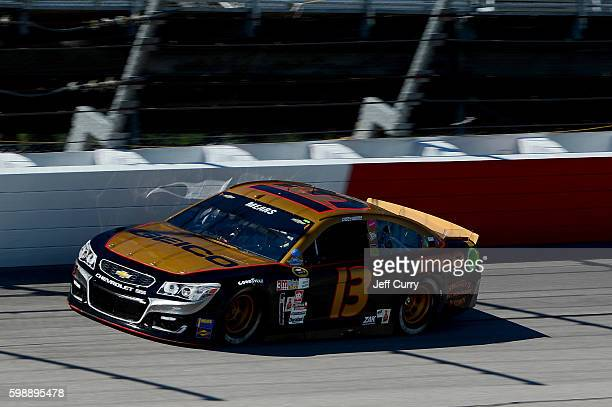 Casey Mears driver of the GEICO Chevrolet practices for the NASCAR Sprint Cup Series Bojangles' Southern 500 at Darlington Raceway on September 3...