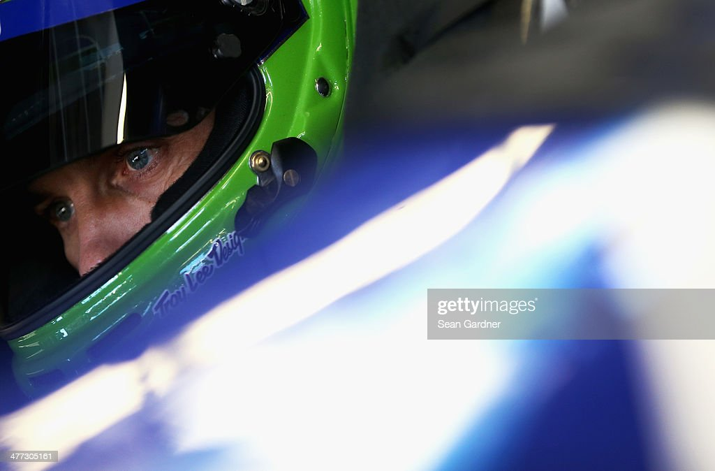 <a gi-track='captionPersonalityLinkClicked' href=/galleries/search?phrase=Casey+Mears&family=editorial&specificpeople=176485 ng-click='$event.stopPropagation()'>Casey Mears</a>, driver of the #13 GEICO Chevrolet, sits in his car during practice for the NASCAR Sprint Cup Series Kobalt 400 at Las Vegas Motor Speedway on March 8, 2014 in Las Vegas, Nevada.