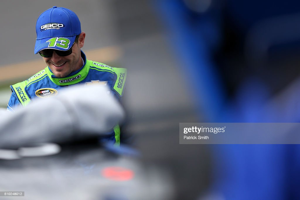Casey Mears, driver of the #13 GEICO Chevrolet, stands on the grid during qualifying for the NASCAR Sprint Cup Series Daytona 500 at Daytona International Speedway on February 14, 2016 in Daytona Beach, Florida.