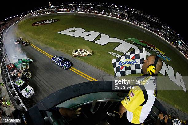 Casey Mears driver of the GEICO Ford Kyle Busch driver of the Interstate Batteries Toyota Danica Patrick driver of the GoDaddycom Chevrolet JJ Yeley...