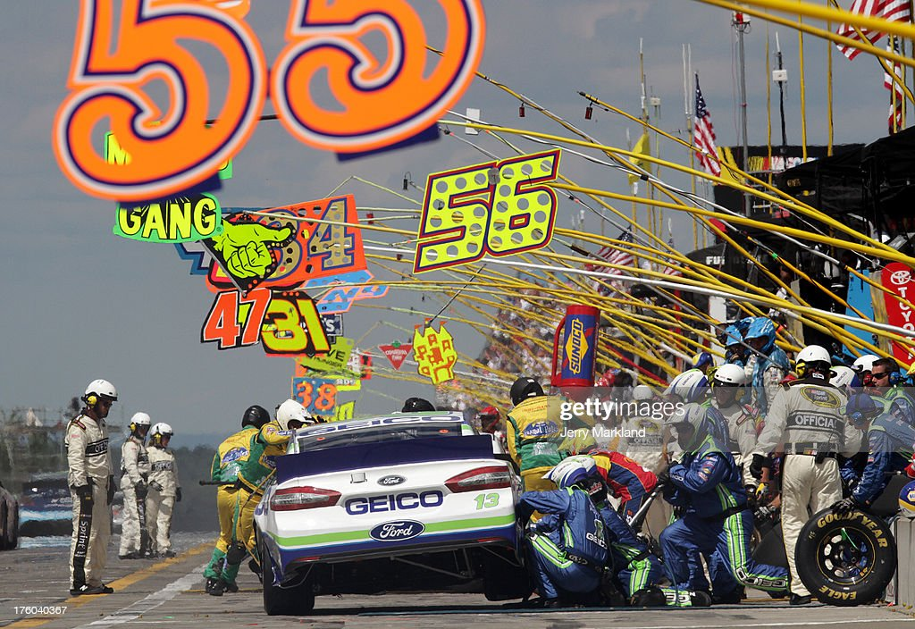 Casey Mears driver of the GEICO Ford pits during the NASCAR Sprint Cup Series CheezIt 355 at The Glen at Watkins Glen International on August 11 2013...