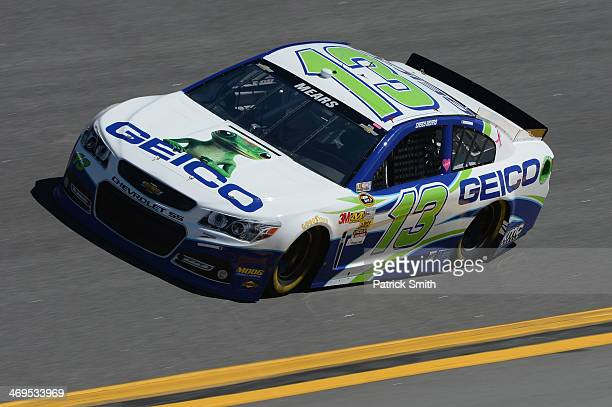 Casey Mears driver of the GEICO Ford practices for the NASCAR Sprint Cup Series Daytona 500 at Daytona International Speedway on February 15 2014 in...