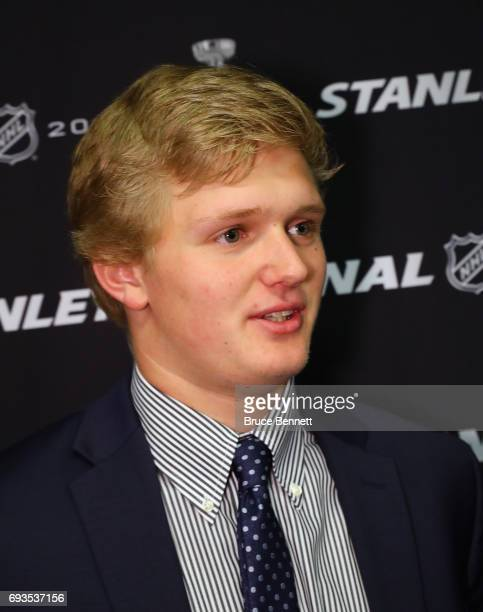 Casey Mittelstadt is interviewed during media availability for 2017 NHL draft prospects prior to Game Four of the 2017 NHL Stanley Cup Final at the...