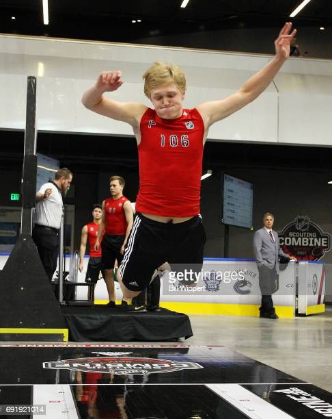 Casey Mittelstadt performs the Long Jump during the NHL Combine at HarborCenter on June 3 2017 in Buffalo New York