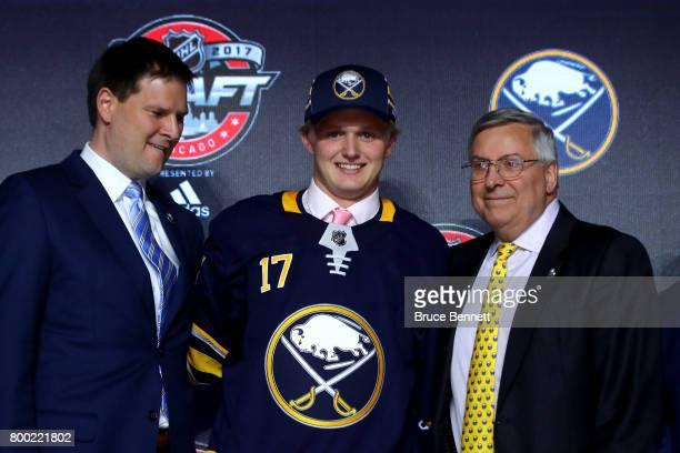 Casey Mittelstadt poses for photos after being selected eighth overall by the Buffalo Sabres during the 2017 NHL Draft at the United Center on June...
