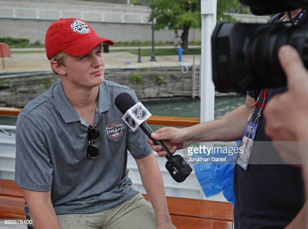 Casey Mittelstadt speaks to the media during the 2017 NHL Draft top prospects media availabilty on the Bright Star Boat on the Chicago River on June...