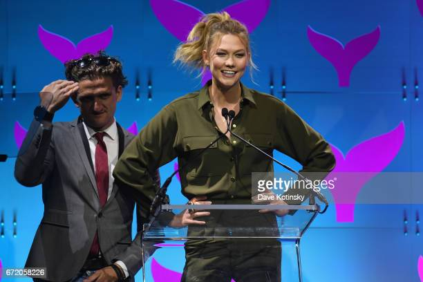 Casey Neistat and Karlie Kloss on stage at the The 9th Annual Shorty Awards on April 23 2017 in New York City