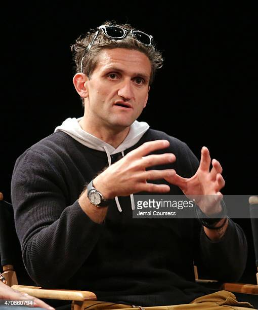 Casey Neistat speaks during the Tribeca Talks Snap It Vine It Tube It Panal during the 2015 Tribeca Film Festival at SVA Theater on April 23 2015 in...