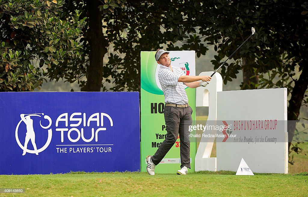 Casey O'Toole of United States plays a shot during practice ahead of the Bashundhara Bangladesh Open at Kurmitola Golf Club on February 9, 2016 in Dhaka, Bangladesh.