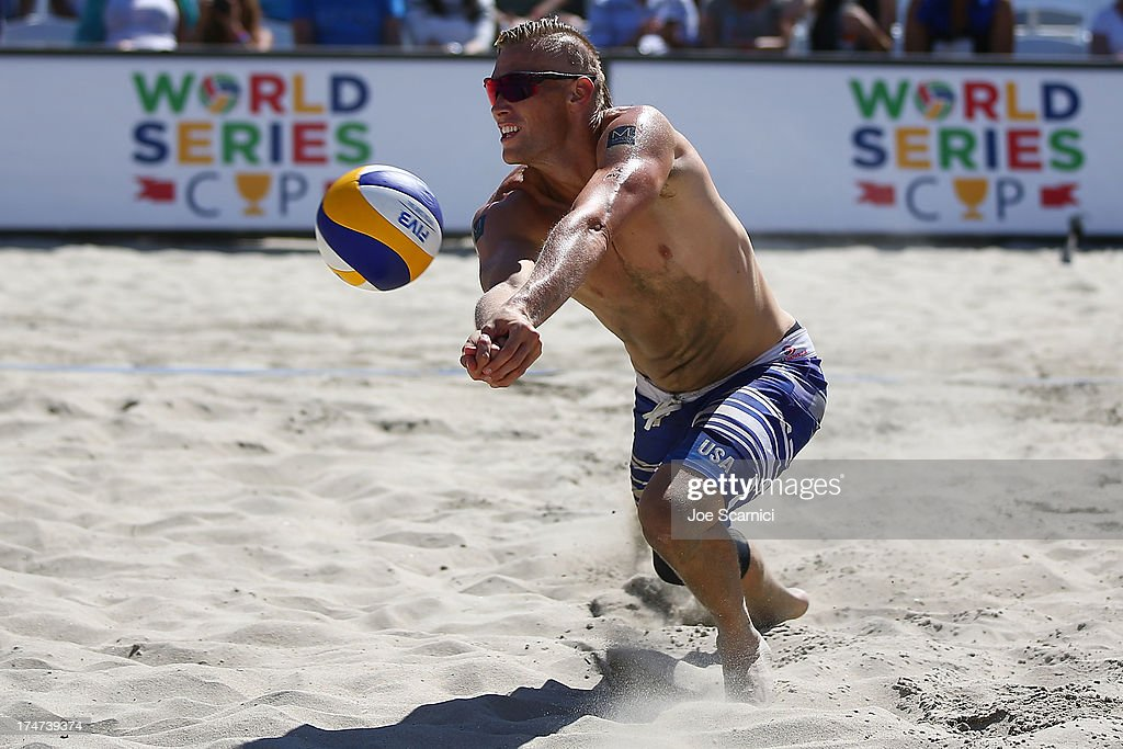 Casey Patterson of USA dives for a ball during a men's final match at the ASICS World Series Cup - Day 2 on July 28, 2013 in Long Beach, California.