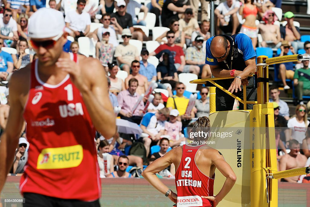 Casey Patterson of USA talks to a referee during a game between USA and Poland on day 6 of the FIVB Moscow Grand Slam at sports complex Dynamo Vodny Stadium on May 29, 2016 in Moscow, Russia.