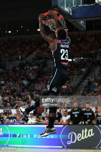 Casey Prather of Melbourne United dunks during the round six NBL match between Melbourne United and the Sydney Kings at Hisense Arena on November 11...